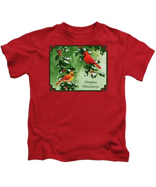 Cardinals Holiday Card - Version With Snow Kids T-Shirt by Crista Forest
