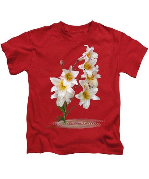 Cascade Of Lilies On Black Kids T-Shirt by Gill Billington