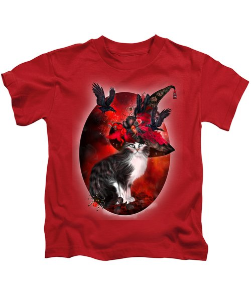 Cat In Fancy Witch Hat 1 Kids T-Shirt by Carol Cavalaris
