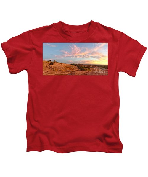 Chasing Angels Of Light Over Enchanted Rock - Fredericksburg Texas Hill Country Kids T-Shirt