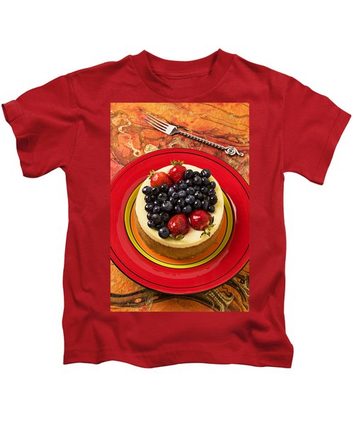 Cheesecake On Red Plate Kids T-Shirt by Garry Gay