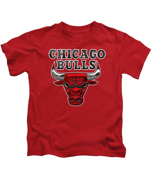 Chicago Bulls - 3 D Badge Over Flag Kids T-Shirt by Serge Averbukh