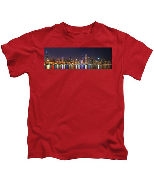 Chicago Skyline With Cubs World Series Lights Night, Chicago, Cook County, Illinois,  Kids T-Shirt