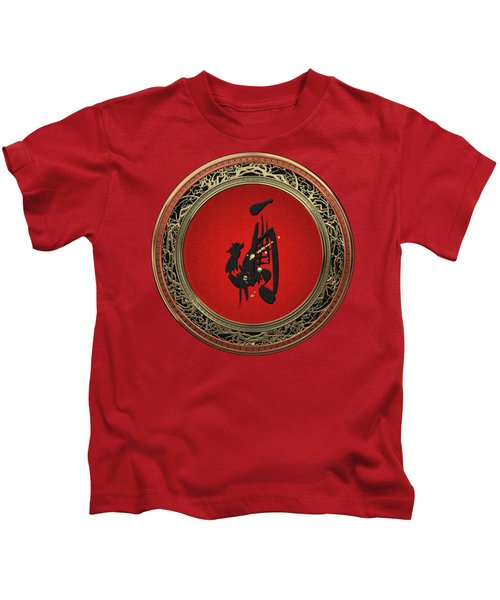 Chinese Zodiac - Year Of The Rooster On Red Velvet Kids T-Shirt