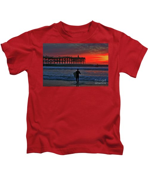 Christmas Surfer Sunset Kids T-Shirt