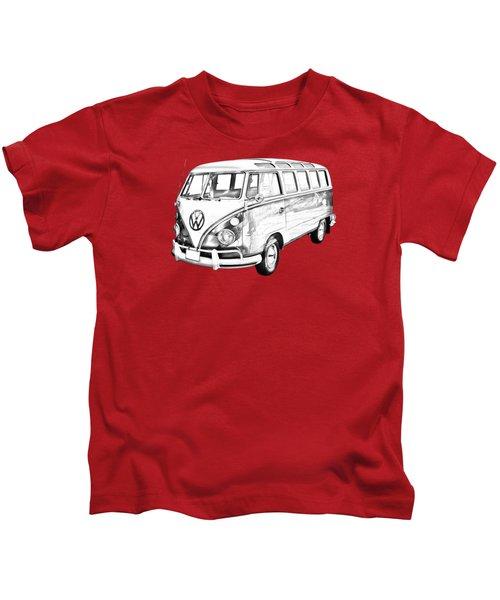 Classic Vw 21 Window Mini Bus Illustration Kids T-Shirt