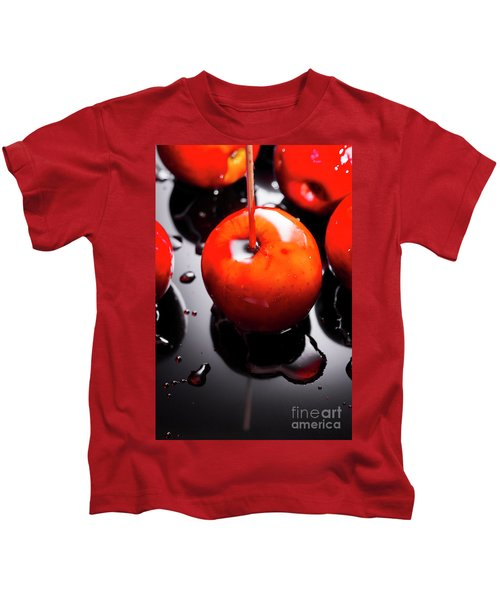 Closeup Of Red Candy Apple On Stick Kids T-Shirt