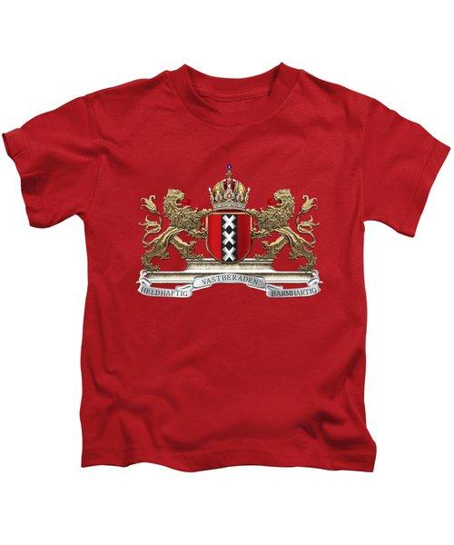 Coat Of Arms Of Amsterdam Over Red Velvet Kids T-Shirt