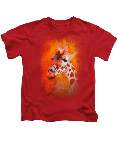 Colorful Expressions Giraffe Kids T-Shirt by Jai Johnson
