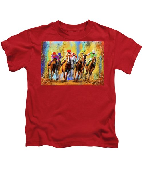 Colorful Horse Racing Impressionist Paintings Kids T-Shirt