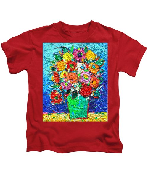 Colorful Wildflowers Abstract Modern Impressionist Palette Knife Oil Painting By Ana Maria Edulescu  Kids T-Shirt