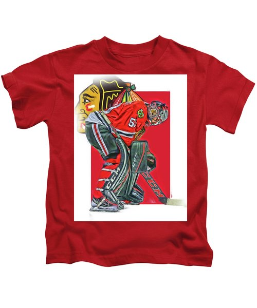 Corey Crawford Chicago Blackhawks Oil Art Kids T-Shirt