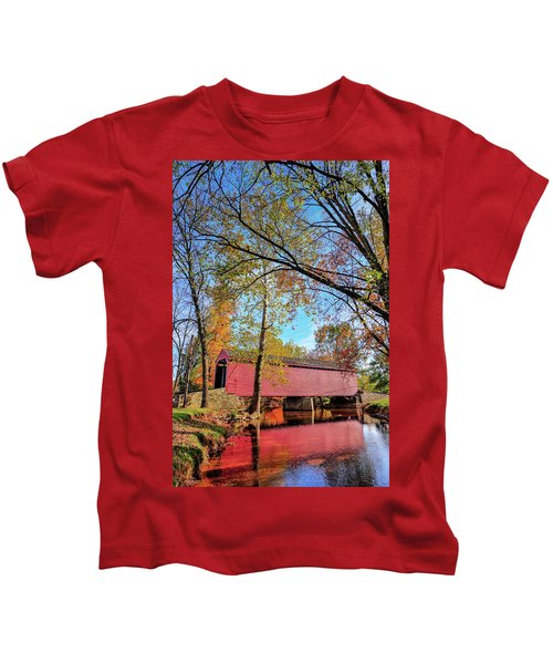 Covered Bridge In Maryland In Autumn Kids T-Shirt
