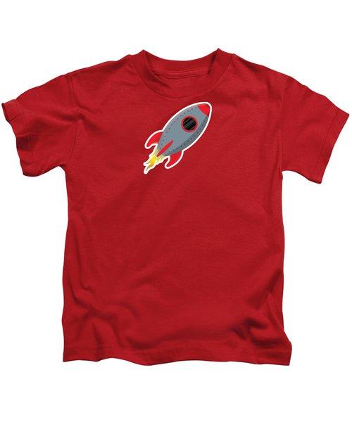Cute Gray Rocket Ship Kids T-Shirt