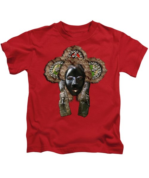 Dan Dean-gle Mask Of The Ivory Coast And Liberia On Red Leather Kids T-Shirt
