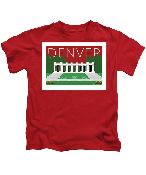 Denver Cheesman Park/maroon Kids T-Shirt