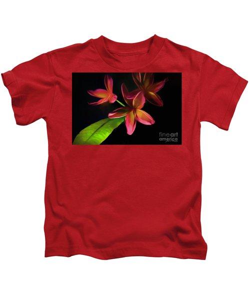 Digitized Sunset Plumerias #2 Kids T-Shirt