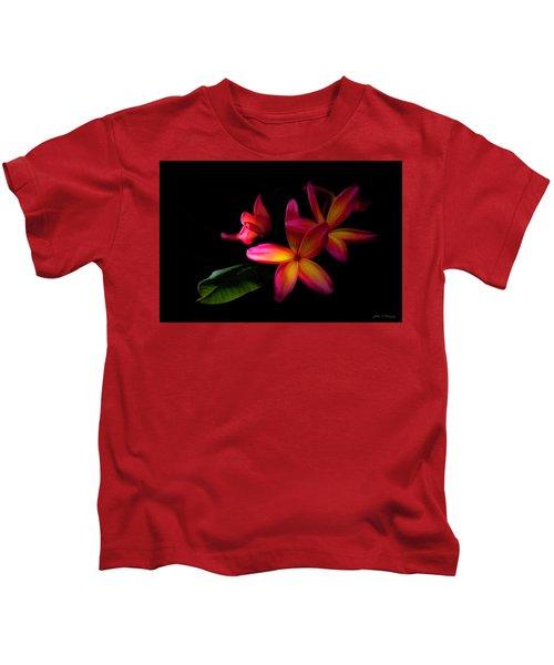 Digitized Sunset Plumerias  Kids T-Shirt