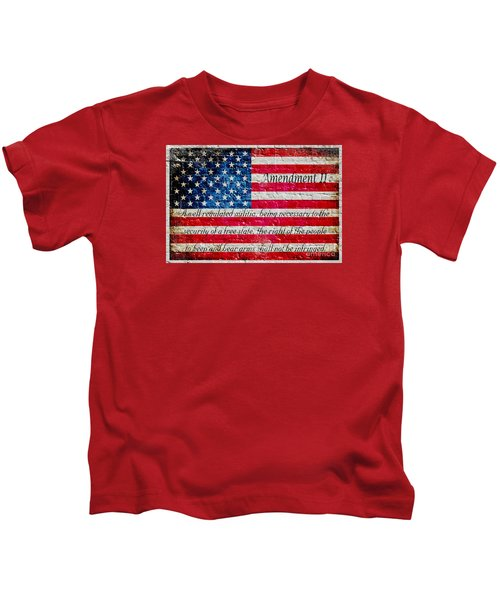 Distressed American Flag And Second Amendment On White Bricks Wall Kids T-Shirt