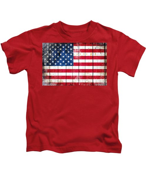 Distressed American Flag On Wood Planks - Horizontal Kids T-Shirt