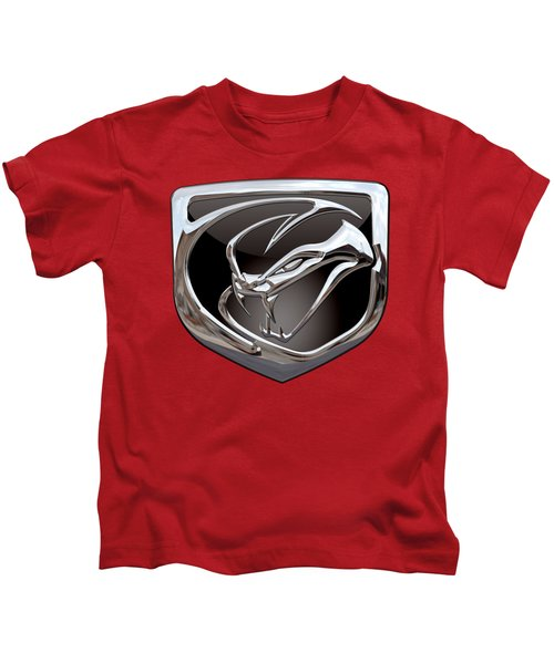 Dodge Viper - 3d Badge On Red Kids T-Shirt by Serge Averbukh