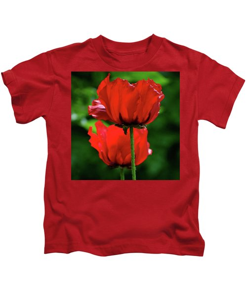 Double Red Poppies Kids T-Shirt