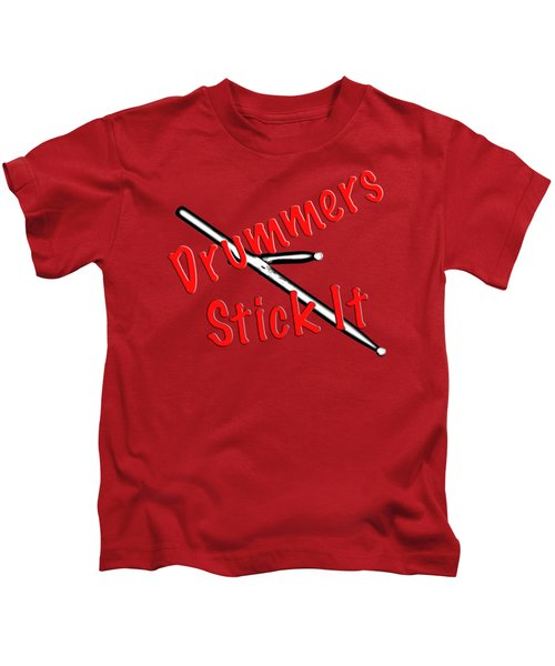 Drummers Stick It Kids T-Shirt by M K  Miller