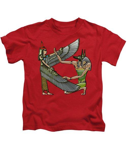 Egyptian Gods Anubis And Nut Kids T-Shirt