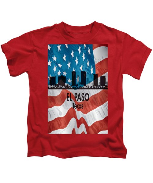 El Paso Tx American Flag Vertical Kids T-Shirt