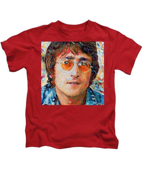 Elton John Portrait Impasto Kids T-Shirt by Yury Malkov