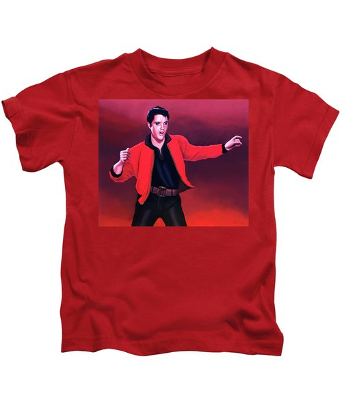 Elvis Presley 4 Painting Kids T-Shirt by Paul Meijering