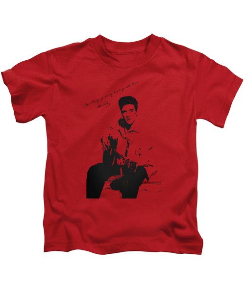 Elvis Presley - When Things Go Wrong Kids T-Shirt by Serge Averbukh