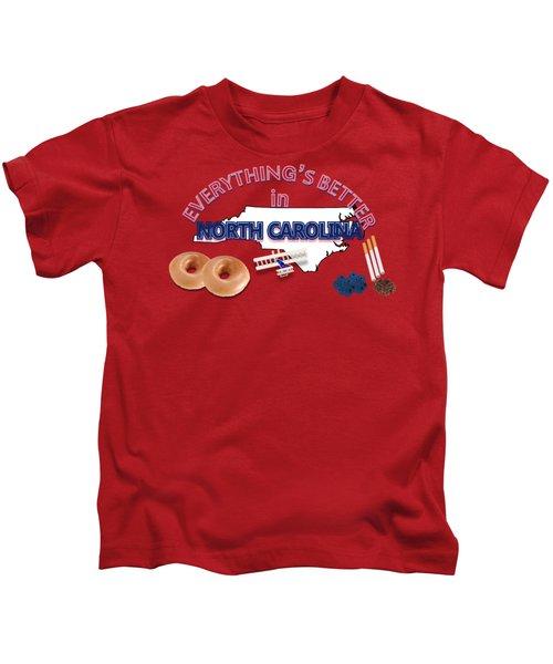Everything's Better In North Carolina Kids T-Shirt by Pharris Art