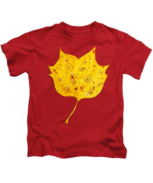 Fancy Yellow Autumn Leaf Kids T-Shirt