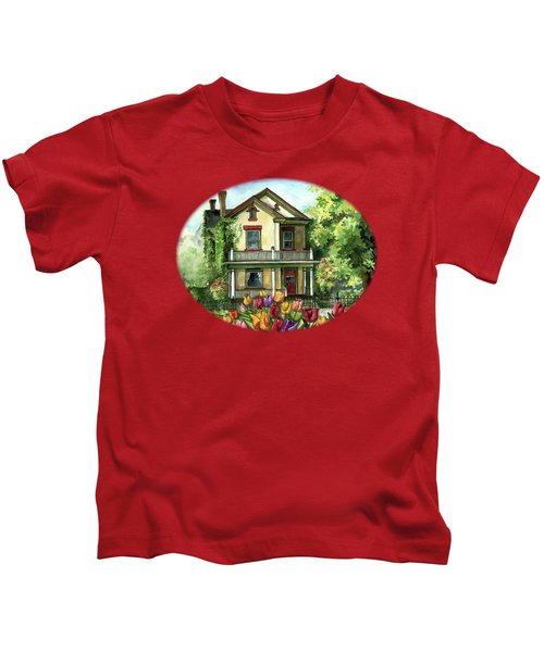 Farmhouse With Spring Tulips Kids T-Shirt by Shelley Wallace Ylst