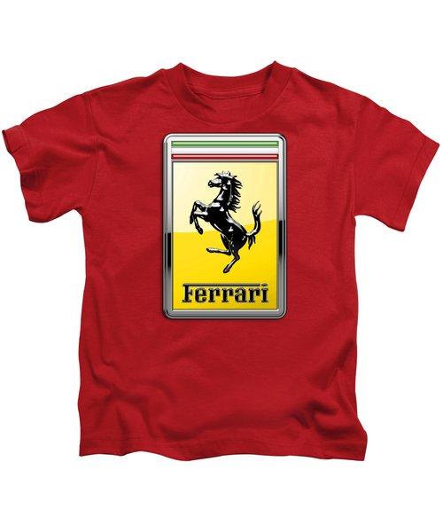 Ferrari 3d Badge-hood Ornament On Red Kids T-Shirt