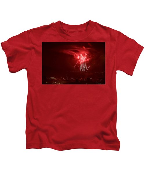 Fireworks In Red And White Kids T-Shirt