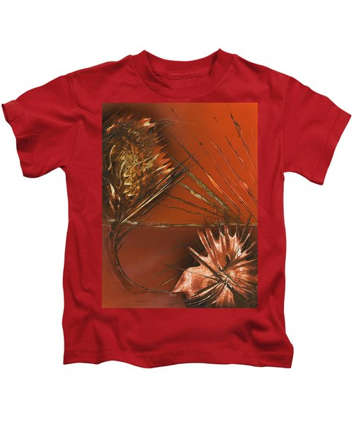 Flower Abstract In Orange And Brown Kids T-Shirt