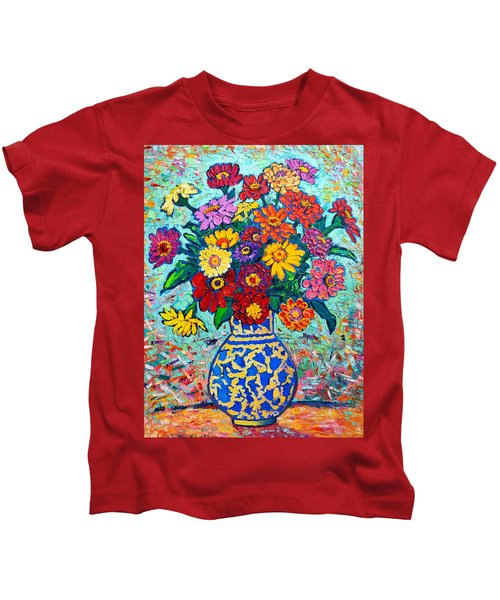 Flowers - Colorful Zinnias Bouquet Kids T-Shirt