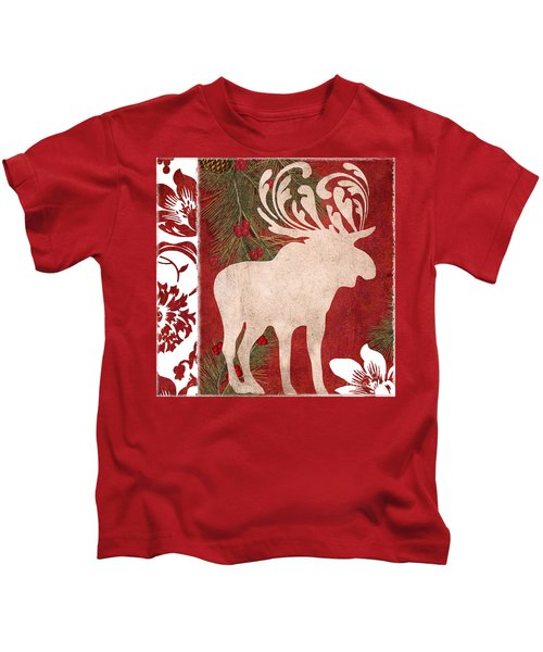 Forest Holiday Christmas Moose Kids T-Shirt