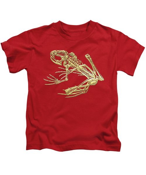 Frog Skeleton In Gold On Red  Kids T-Shirt by Serge Averbukh