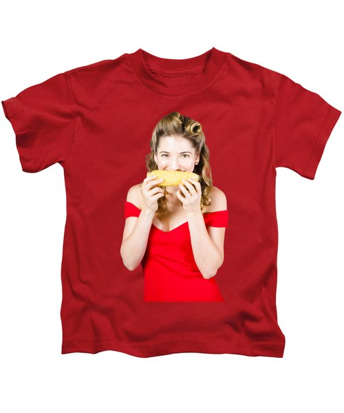 Funny Vegetable Woman With Corn Cob Smile Kids T-Shirt