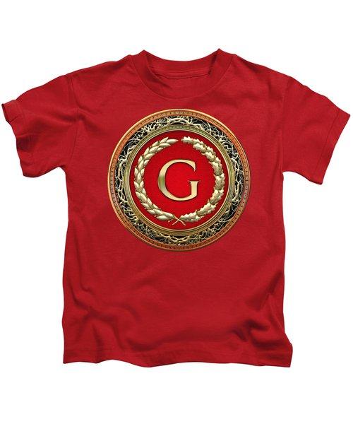 G - Gold Vintage Monogram On Red Leather Kids T-Shirt