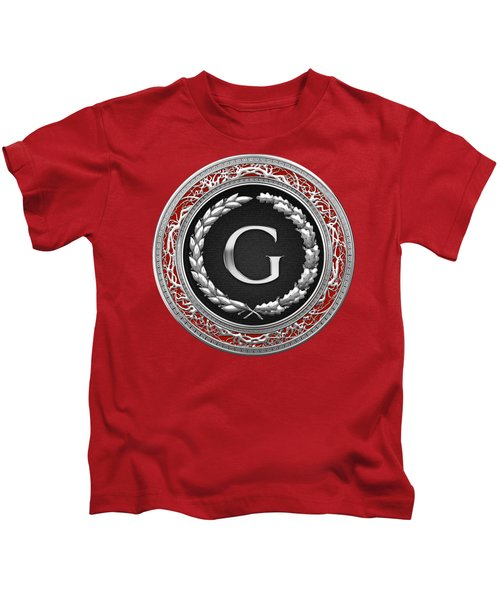 G - Silver Vintage Monogram On Red Leather Kids T-Shirt