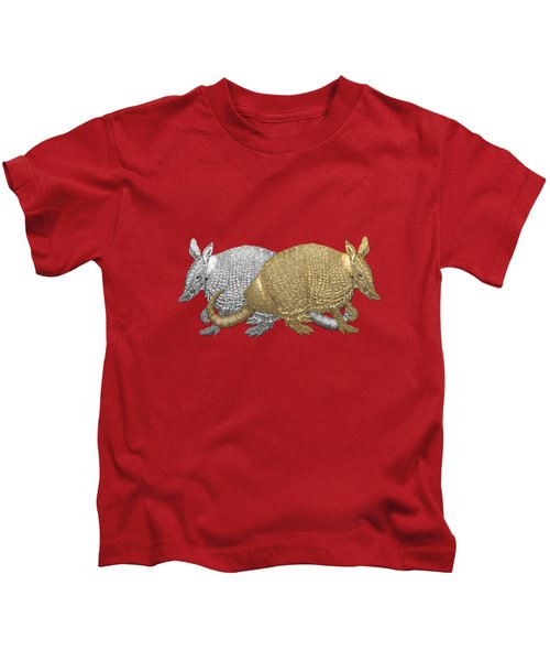 Gold And Silver Armadillo On Red Canvas Kids T-Shirt