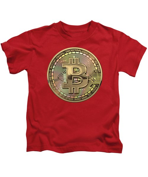 Gold Bitcoin Effigy Over Red Canvas Kids T-Shirt