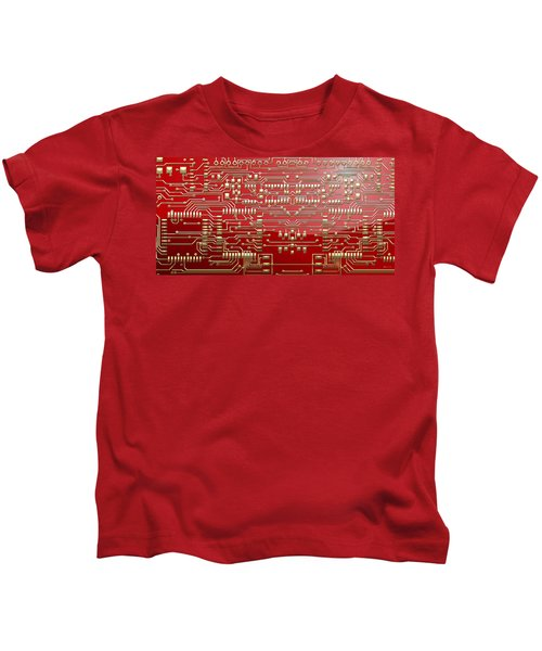 Gold Circuitry On Red Kids T-Shirt