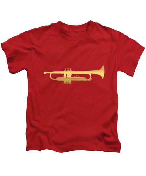 Gold Embossed Trumpet On Dark Red Background Kids T-Shirt