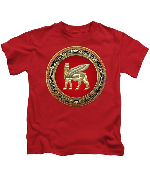 Golden Babylonian Winged Bull  Kids T-Shirt