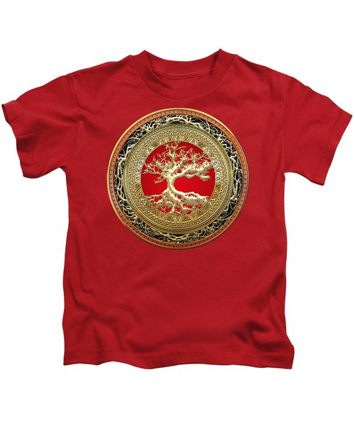 Golden Celtic Tree Of Life  Kids T-Shirt